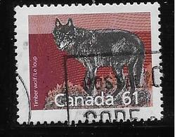 ANADA 1989, USED # 1175a,  MAMALS DEFINITIVES: TIMBER WOLF,  PERF  13.1 - 1952-.... Règne D'Elizabeth II