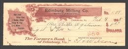 1908 Bank Check Edinburg Milling Co. (dealers In Grain) / The Farmers Bank Of Edinburg, VA - Chèques & Chèques De Voyage