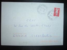 LETTRE TP M. DE BRIAT TVP ROUGE OBL. VARIETE 7-5 1996 51 CHALONS EN CHAMPAGNE CATH. MARNE - Marcophilie (Lettres)