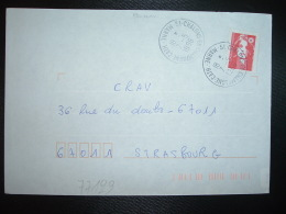 LETTRE TP M. DE BRIAT TVP ROUGE OBL. VARIETE 7-5 1996 51 CHALONS EN CHAMPAGNE CATH. MARNE - Postmark Collection (Covers)