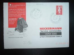 LETTRE TP M. DE BRIAT TVP ROUGE OBL. VARIETE 10-3 1997 51 CHALONS EN CHAMPAGNE CX DAMPIERRE MARNE - Postmark Collection (Covers)