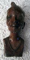 Tête En Bois Sculpté - Art Africain
