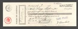 1921 Bank Cheque Toiles De Courtrai / Kortrijk - Banque Centrale Tournaisienne / Tournai / Doornik - Chèques & Chèques De Voyage
