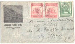 ASUNCION Palace Hotel Illustration 1 Centimo Marina Marchande Tragedia 50 C Vert Obras Jesuitticas Paris Cancel 1946 - Paraguay