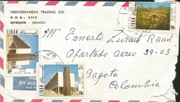 J) 1987 LEBANON, BRIDGE, EDIFICES, EDUCATION, MULTIPLE STAMPS, AIRMAIL, CIRCULATED COVER, FROM LEBANON TO COLOMBIA - Lebanon