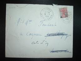 LETTRE TP M. A LA NEF 25F OBL. Tiretée 18-1 1960 COUFFY LOIR ET CHER (41) - Marcophilie (Lettres)