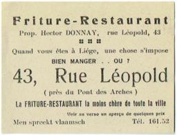 Carte Visite Publicité. Liège. Friture-Restaurant, 43 Rue Léopold. - Cartes De Visite