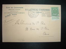 CP TP 5c OBL.MEC.14 II 1911 BRUXELLES 1 + I L + GUIDE DES COMMUNAUTES - Flammes