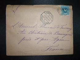 LETTRE Pour Amiral De FOURCRAY CHATEAU De BEAUREGARD AGEN (47) TP 25 OBL. HEXAGONALE 11 ENE 07 AMB. ASC. MUNGUIA-BILBAO - 1889-1931 Königreich: Alphonse XIII.