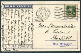 1917 Switzerland Pro Juventute Postcard St Gallen - Neuchatel. 1916 Pro Juventute 5c - Pro Juventute