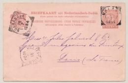 Nederlands Indië - 1894 - 7,5 Cent Cijfer, Briefkaart G12 Z-2 Van VK MALANG Naar Paris / France - Nederlands-Indië