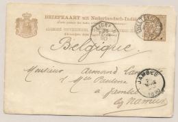 Nederlands Indië - 1890 - 7,5 Cent Cijfer, Briefkaart G9 Z-1 Met LIGNE N Van KR Weltevreden Naar JAMBES / België - Nederlands-Indië