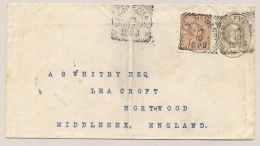 Nederlands Indië - 1898 - 10 Cent Hangend Haar Op 15 Cent Envelop G8 Van VK BANJOEWANGI Naar Northwood / UK - Nederlands-Indië
