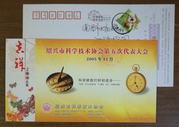 Chinese Ancient Timing Tool Solar-time Sundial,time Clock,CN 06 Shaoxing Science Association Advert Pre-stamped Card - Astronomy