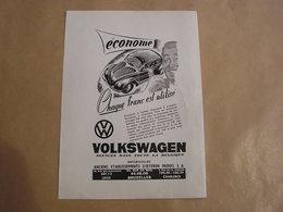Econome Chaque Franc Est Utilisé VW VOLKSWAGEN Coccinelle D'Ieteren Frères Automobile Auto  Publicité Originale Revue - Pubblicitari