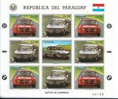 PARAGUAY 1987, CARS, AUTOMOBILE, SCOTT C677/8 M/s,  FULL SHEET MNH - Paraguay