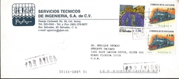 J) 1997 EL SALVADOR, HORSE SEA HIPPOCAMPUS INGENS, RAILWAY, EXFILNA, MULTIPLE STAMPS, AIRMAIL, CIRCULATED COVER, FROM EL - El Salvador
