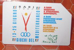 TELECOM LIRE 10.000 BARI GIOCHI DEL MEDITERRANEO 1997     SCHEDA TELEFONICA USED - Italy