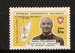Madagascar 1978 N° 620 ** Lépreux, Lèpre, Maladie, Médecine, Raoul Follereau, Journaliste, Main, Bêche, Agriculture - Madagascar (1960-...)