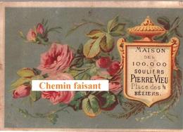 Chromo PIERRE VIEU Chaussures Béziers 34 - Fleurs -  Scans Recto-verso - Chromos