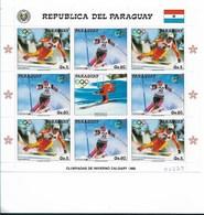 PARAGUAY 1987, OLYMPIC WINTER SPORT GAMES, SKI, CALGARY 1988, SCOTT 2237 M/S, FULL SHEET, MNH - Paraguay