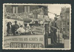 LIEGE. Photo Carte. Coin Boulevard Saucy Et Chaussée Des Prés. Attelage Publicitaire, Super Marché. Grande Animation. - Liege
