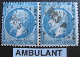 R1680/97 - NAPOLEON III (PAIRE) N°22 - Cachet AMBULANT - 1862 Napoleon III