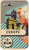 ANTIGUA ETIQUETA DE LA COMPAÑIA AEREA KLM (AVION-PLANE) EUROPA - Etiquetas De Equipaje