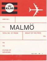 ANTIGUA ETIQUETA DE LA COMPAÑIA AEREA KLM (AVION-PLANE) MALMO - Etiquetas De Equipaje