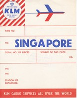 ANTIGUA ETIQUETA DE LA COMPAÑIA AEREA KLM (AVION-PLANE) SINGAPORE - Etiquetas De Equipaje