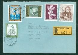 Austria 1977 1978 1979 Ice Skating Human Rights Schubert Music Falkenstein Herzmanovsky Literature Rec Letter Abroad - 1991-00 Storia Postale