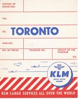ANTIGUA ETIQUETA DE LA COMPAÑIA AEREA KLM (AVION-PLANE) TORONTO - Etiquetas De Equipaje