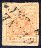 15 Centes. Rosso Vermiglio III Tipo (sassone N.20a) - Annullo Di Udine  - Buone Condizioni - Immagine Del Verso - Lombardo-Veneto
