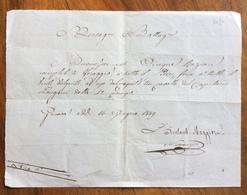 GUERRA D'INDIPENDENZA BUONO PER 5 RAZIONI FORAGGIO CAVALLO  CAPITANO  LONGONI....GENOVA 16/6/1849 - Historical Documents