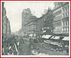 State Street, Chicago. Un Voyage à Travers L'Amérique. 1895. Édition Greig. Et Cie. - Vieux Papiers
