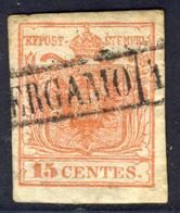 15 Centes. Rosso I Tipo (sassone N.3) - Annullo Di Bergamo (p.3)  - Buone Condizioni - Immagine Del Verso - Lombardo-Veneto