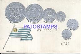 101520 PERU ART EMBOSSED FLAG AND COIN YEAR 1904 POSTAL POSTCARD - Uruguay