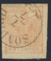15 Centes. Rosa II Tipo (sassone N.5) Annullo Di Sondrio (p.3)  - Buone Condizioni - Immagine Del Verso - Lombardo-Veneto