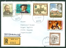 Austria 1986 1988 Ernst Mach Physics Richard Wagner Museum Wagon Steel Prinz Eugen  Rec Letter Abroad - 1991-00 Storia Postale