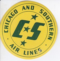 ANTIGUA ETIQUETA DE LA COMPAÑIA AEREA CS CHICAGO AND SOUTHERN AIR LINES (AVION-PLANE) - Etiquetas De Equipaje