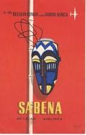 ANTIGUA ETIQUETA DE LA COMPAÑIA AEREA SABENA  (AVION-PLANE) CONGO AND SOUTH AFRICA - Etiquetas De Equipaje