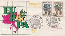 Enveloppe  FDC  1er  Jour   FRANCE   Paire   EUROPA    STRASBOURG    1957 - FDC