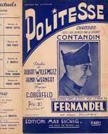 40 60 MILITARIA CENSURE PARTITION FERNANDEL POLITESSE SOLDAT CONTANDIN WILLEMETZ WERNERT OBERFELD 1939 HUMOUR - Musique & Instruments