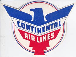 ANTIGUA ETIQUETA DE LA COMPAÑIA AEREA CONTINENTAL AIRLINES  (AVION-PLANE) - Etiquetas De Equipaje