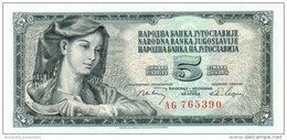 YUGOSLAVIA 5 DINARA 1968 P-81a UNC SERIAL # WITH SERIFS [YU081a] - Yugoslavia