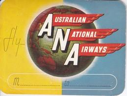 ANTIGUA ETIQUETA DE LA COMPAÑIA AEREA ANA - AUSTRALIAN NATIONAL AIRWAYS (AVION-PLANE) - Etiquetas De Equipaje