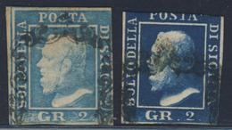 2 Grana Azzurro Con Margine Destro Corto + 2 Grana Azzurro Scuro Non Conteggiato - Immagine Del Verso - Sicilia