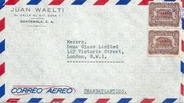 "Airmail Brief  ""Waelti, Guatemala"" - London          1956 - Guatemala"