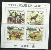 GUINEA GUINEE 1987 FAUNA WWF LYCAON WILD DOG LICAONI BLOCK SHEET BLOCCO FOGLIETTO MNH - Guinea (1958-...)
