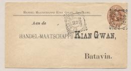 Nederlands Indië - 1900 - 10 Cent Willem III, Envelop G6 Particulier Bedrukt Kian Gwan Van Semarang Naar Batavia - Nederlands-Indië